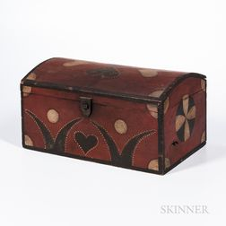 Painted Pine Heart- and Pinwheel-decorated Dome-top Box