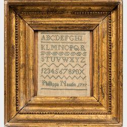 "Small Needlework Sampler ""Phillipa Naudin,"""