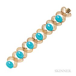 18kt Gold and Turquoise Bracelet, G. Petochi