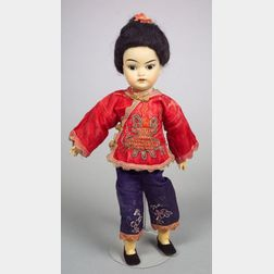 Small Oriental Bisque Head Girl Doll