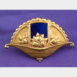 Art Nouveau 18kt Gold and Lapis Brooch, Contreau France