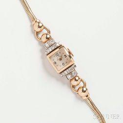 Retro 14kt Gold and Diamond Lady's Wristwatch