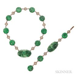 14kt Gold and Jade Necklace and Bracelet