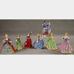 Seven Royal Doulton Porcelain Figures of Women