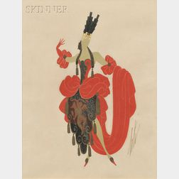 Romain de Tirtoff, called Erté (Russian, 1892-1990)      Costume Design: Dancer in Red and Black