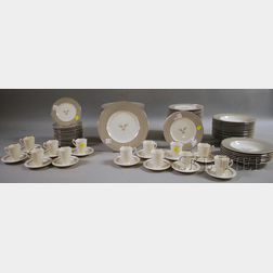 Syracuse China Coronet Pattern Partial Dinner Set and Thirteen-piece Shelledge Pattern Demitasse Set.