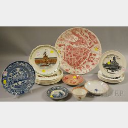 Seventeen Pieces of Transfer-decorated Ceramic Tableware and a Chinese Export   Porcelain Cup and Saucer
