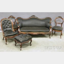 Victorian Rococo Revival Horsehair Upholstered Carved Walnut Sofa and Four-piece   Partial Parlor Set