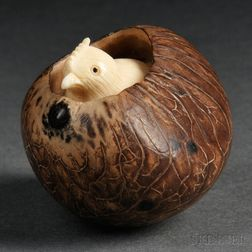 Ivory Okimono of a Bird in a Nest
