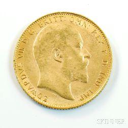 1908 British Gold Sovereign.     Estimate $200-300