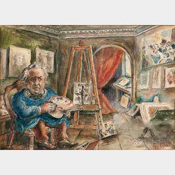 David Davidovich Burliuk (American/Ukrainian, 1882-1967)      Honoré Daumier in His Studio