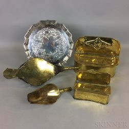 Two Brass Hanging Wall Boxes, a Scoop, a Pair of Bellows, and a Silver-plated Tray.     Estimate $150-250
