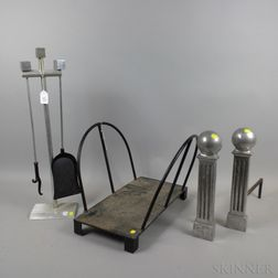 Stanton Mid-Century Modern Aluminum Andirons, Unmarked Tools and Log Caddy.     Estimate $20-200