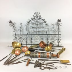 Group of Wrought Iron and Brass Hearth Tools