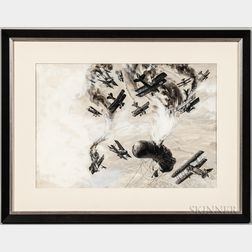 Norman Saunders Depiction of a Dog Fight with Several Biplanes and a German Observation Balloon