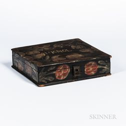"Paint- and Floral-decorated Pine ""Bucher"" Lap Box"