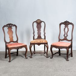 Three Chippendale-style Carved Side Chairs