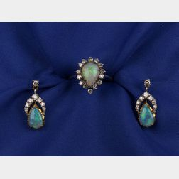 Two Opal and Diamond Jewelry Items