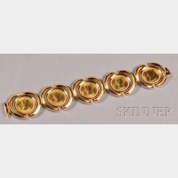 18kt Gold and Gold Sovereign Bracelet