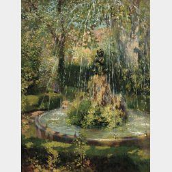 Francis Luis Mora (American, 1874-1940)      A Fountain in Granada