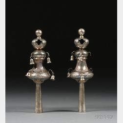 Pair of Silver Torah Finials