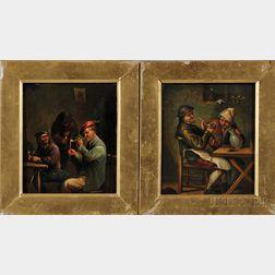 Manner of Adriaen Jansz van Ostade (Dutch, 1610-1685)      Two Tavern Interiors with Peasants Smoking