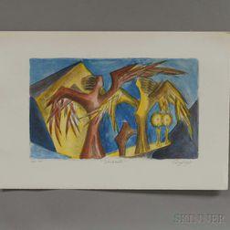 Unframed Chaim Gross (American, 1904-1991) Color Lithograph Shabbath