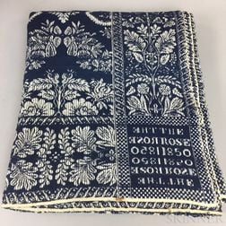 """Blue and White """"The Rose"""" Woven Coverlet"""
