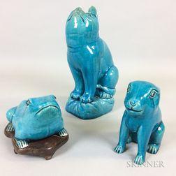 Three Monochrome Turquoise Blue-glazed Animals