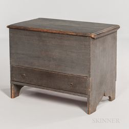 Child's Blue-painted Pine Chest over Drawer