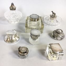 Eight English Sterling-mounted Glass Inkwells