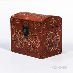 Red-painted Compass Artist Decorated Dome-top Box