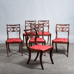 "Set of Six Classical-style Carved Mahogany ""Grecian"" Side Chairs"