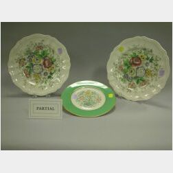Set of Eight Royal Doulton Malvern Ceramic Dinner Plates and a Set of Six Lenox Floral Decorated Porcelain Dessert Plates.