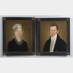 Attributed to John Brewster Jr., (American, 1766-1854)  Pair of Portraits of Dr. James Hall and His Wife Lavinia.