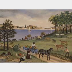 Martha F. Cahoon (American, b. 1905)  Summer Country Landscape with Figures.