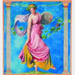 John La Farge (American, 1835-1910)    A Bacchante (Study for Stained Glass)