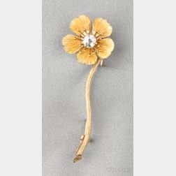 Antique 18kt Gold, Enamel, and Diamond Flower Brooch, Tiffany & Co.