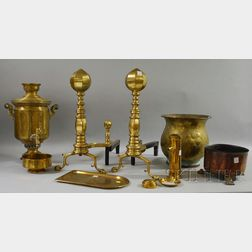 Brass Samovar, a Pair of Andirons, Jardiniere, and a Copper Jardiniere.