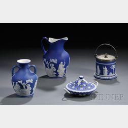 Four Wedgwood Dark Blue Jasper Dip Items