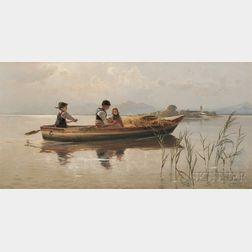 Karl Raupp (German, 1837-1918)      A Family Rowing on Lake Chiemsee