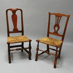 Two Country Cherry Side Chairs