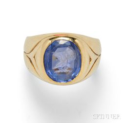 18kt Gold and Sapphire Intaglio Ring, Spaulding & Co.