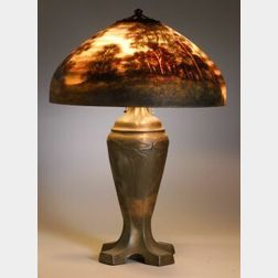 Handel Reverse Painted Landscape Table Lamp