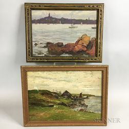 Two Framed Oil on Canvas Coastal Scenes in Marblehead