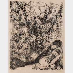 Marc Chagall (Russian/French, 1887-1985)      Le ciel des amoureux
