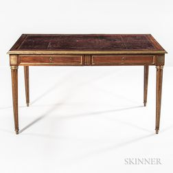 Louis XVI-style Mahogany, Mahogany-veneered, and Gilt-brass-mounted Bureau Plat