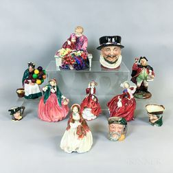 Eleven Royal Doulton Ceramic Figures and Character Jugs