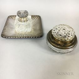 Cut Glass Partner's Inkwell and a Sterling-mounted Inkwell.     Estimate $100-200