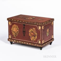Small Red-painted and Floral-decorated Poplar Box